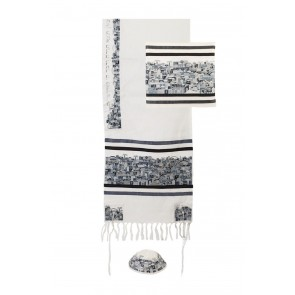 Yair Emanuel Embroidered Cotton Jerusalem Tallit Set - Black