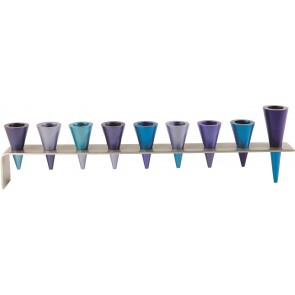 Yair Emanuel Strip Cone Menorah Blue