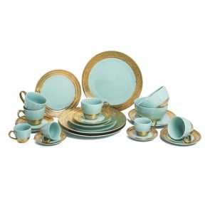 Embossed Gold Collection in Aqua Blue