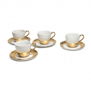 Embossed Gold Tea Set for 4, White