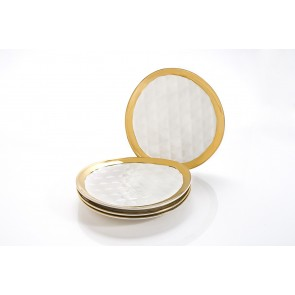 Yedi Quilted Collection Gold Dessert Plates Set of 4