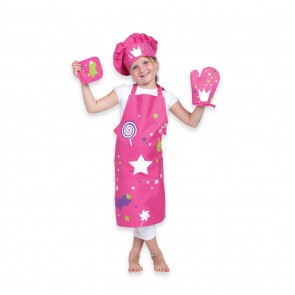 Shop Kid's 4-Piece Crown Apron Set in Pink | Child Apron Kitchen Set | Los Angeles, CA