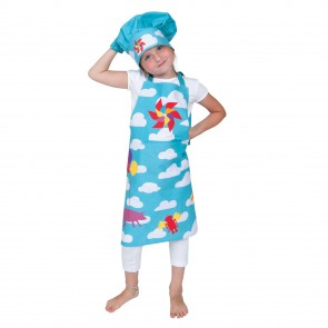 Shop Kid's 4-Piece Clouds Apron Set in Blue/Turquoise| Child Apron Kitchen Set | Los Angeles, CA